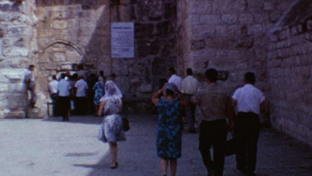 church of the nativity on august 10, 1967 in bethlehem, palestine - weihnachtskrippe stock-videos und b-roll-filmmaterial