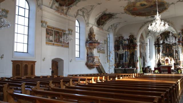 church of the parish community centre st. martin in baar, switzerland - altar stock videos & royalty-free footage