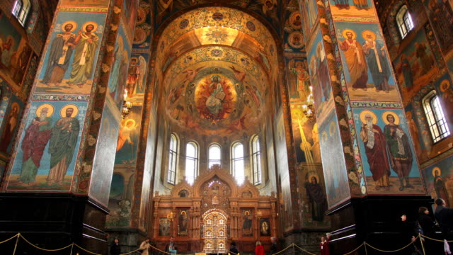 t/l la zo church on spilled blood interior 1 - st. petersburg russia stock videos & royalty-free footage
