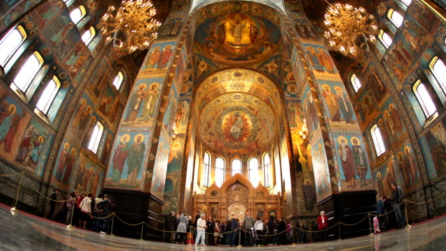 t/l la fisheye church on spilled blood interior 2 - st. petersburg russia stock videos & royalty-free footage