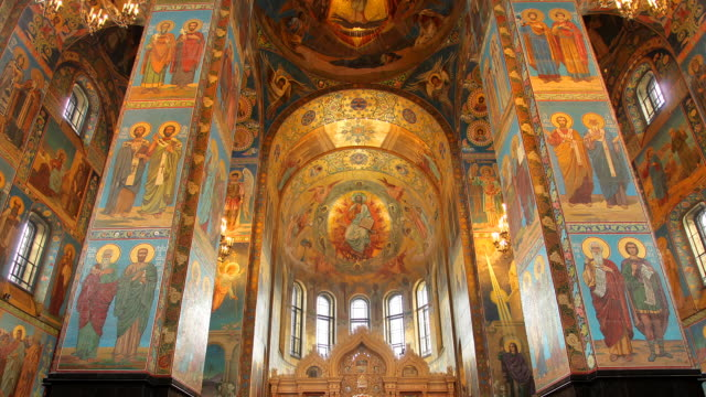 t/l la zo church on spilled blood interior 2 - st. petersburg russia stock videos & royalty-free footage