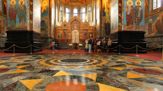 t/l la pan church on spilled blood interior 3 fast - st. petersburg russia stock videos & royalty-free footage
