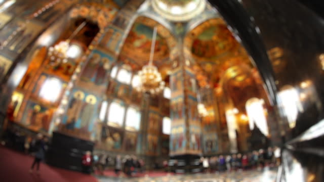 t/l la focusing fisheye church on spilled blood interior 4 - fish eye lens stock videos & royalty-free footage