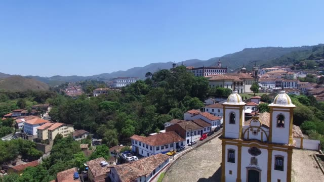 church on the top and the beautiful city of ouro preto in minas gerais, brazil - preto stock videos & royalty-free footage