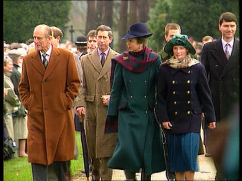 Church service/ Queen's Christmas message 1757 ENGLAND Norfolk Sandringham MS Prince Philip Princess Anne daughter Zara along towards followed by...