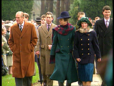 Church service/ Queen's Christmas message 2304 ENGLAND Norfolk Sandringham MS Prince Philip Princess Anne daughter Zara along towards followed by...