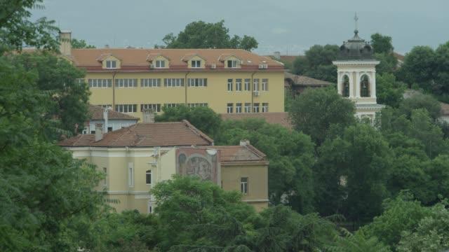 church spire in plovdiv - turmspitze stock-videos und b-roll-filmmaterial