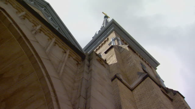 church steeple and cloud, low angle - steeple stock videos & royalty-free footage