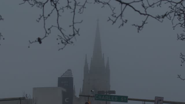 church steeple is visible through thick fog during the coronavirus pandemic on december 12, 2020 in baltimore, maryland. in maryland there are more... - church stock videos & royalty-free footage