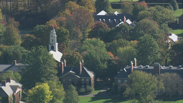 aerial church steeple rising above fall foliage and small town / deerfield, massachusetts, united states - deerfield massachusetts stock videos & royalty-free footage