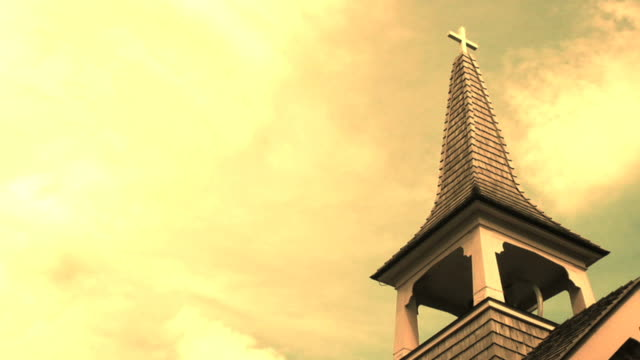 HD: Church Steeple with time lapse clouds