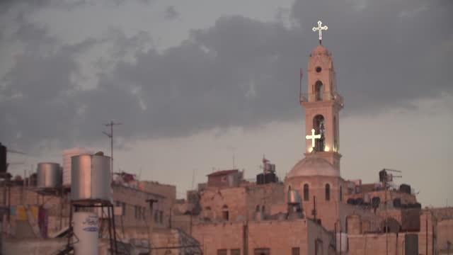 church tower in bethlehem - tornspira bildbanksvideor och videomaterial från bakom kulisserna