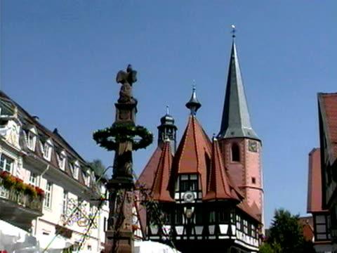 vidéos et rushes de church towers in michaelstadt, bavaria, germany - flèche clocher