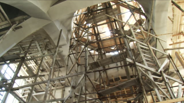 church under construction - hd - scaffolding stock videos & royalty-free footage