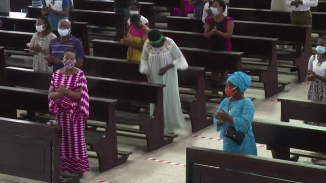 churches and temples have reopened in côte d'ivoire after several weeks of closure due to the covid-19 pandemic - côte d'ivoire stock videos & royalty-free footage