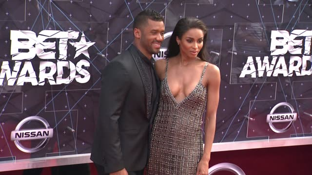 ciara and russell wilson at the 2015 bet awards on june 28 2015 in los angeles california - black entertainment television stock videos & royalty-free footage