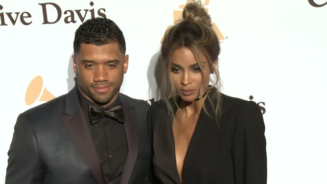 ciara and russell wilson at the 2016 pre-grammy gala and salute to industry icons honoring irving azoff at the beverly hilton hotel on february 14,... - the beverly hilton hotel stock videos & royalty-free footage