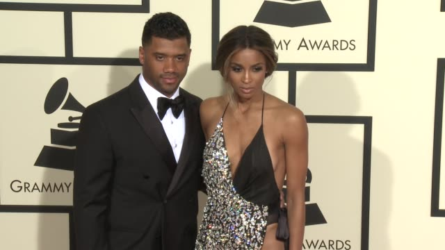 ciara and russell wilson at the 58th annual grammy awards® arrivals at staples center on february 15 2016 in los angeles california - ciara stock videos & royalty-free footage