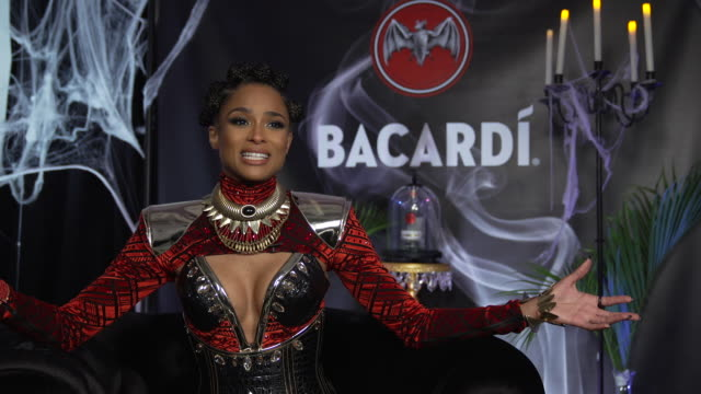 interview ciara on what brings her out here tonight to the bacardi halloween party on her 'nakia' costume tonight character from black panther on... - ciara stock videos & royalty-free footage