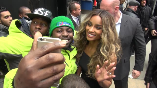 ciara promoting the '2016 billboard music awards' finalist categories leaving the 'good morning america' show poses for photographers and with fans... - finalist stock videos and b-roll footage