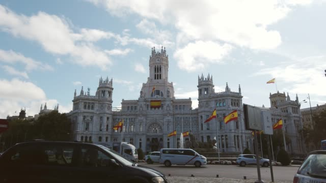cibeles square in madrid, spain - town hall stock videos & royalty-free footage