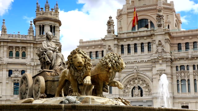 cibeles square, madrid(3 different shot) - neo classical stock videos & royalty-free footage