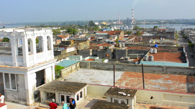 Cienfuegos Cuba from Main Square tower looking down at city from above