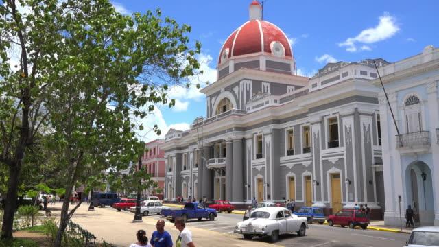 cienfuegos, cuba: historic centre surrounding the jose marti park - poder点の映像素材/bロール