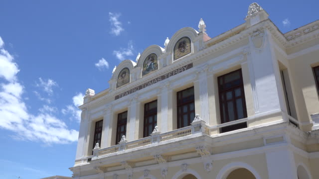 Cienfuegos, Cuba: Terry Theatre building exterior in the Jose Martí park in the downtown district of the tropical weather city.