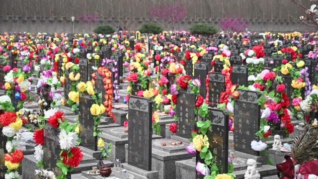 vídeos y material grabado en eventos de stock de cientos de chinos visitan las tumbas de sus ancestros durante el festival de ching ming conocido como el dia de la limpieza de tumbas una fecha... - noreste de china