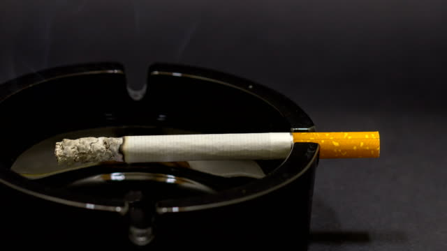 cigarette burning in the ashtray - smoking issues stock videos & royalty-free footage