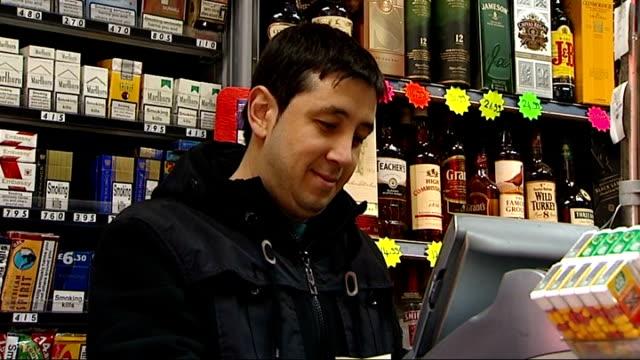 vídeos y material grabado en eventos de stock de london int tobacconist shop counter various cigarettes on display including richmond marlboro lambert butler pall mall classic fine cigars camel /... - vender