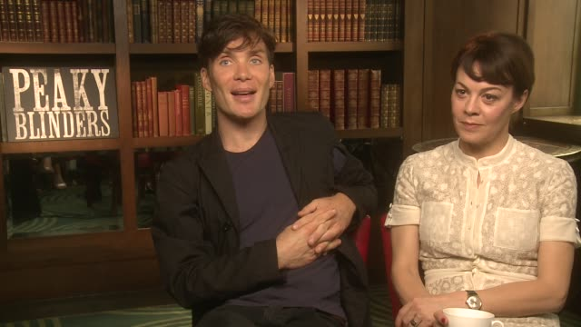 cillian murphy, helen mccrory on tom hardy joining the series at 'peaky blinders' season 2 interview at the ivy on september 19, 2014 in london,... - ヘレン マックローリー点の映像素材/bロール