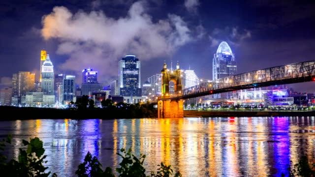cincinnati, oh skyline - waterfront stock videos & royalty-free footage