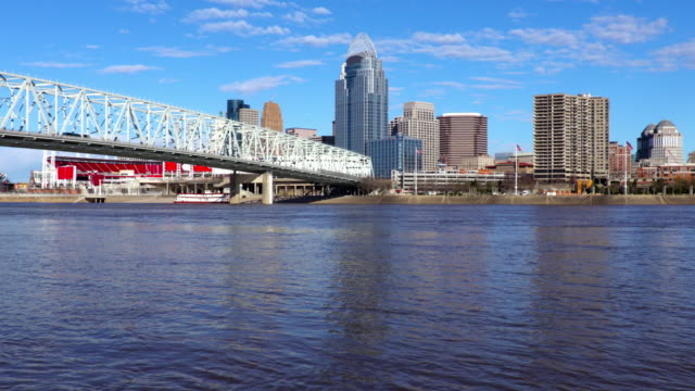 stockvideo's en b-roll-footage met cincinnati skyline langs de ohio-rivier - ohio