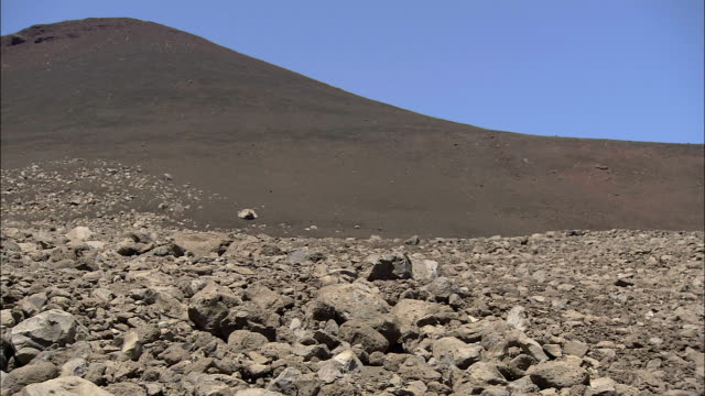 a cinder cone rises above a rocky bed of basalt. - basalt stock videos & royalty-free footage