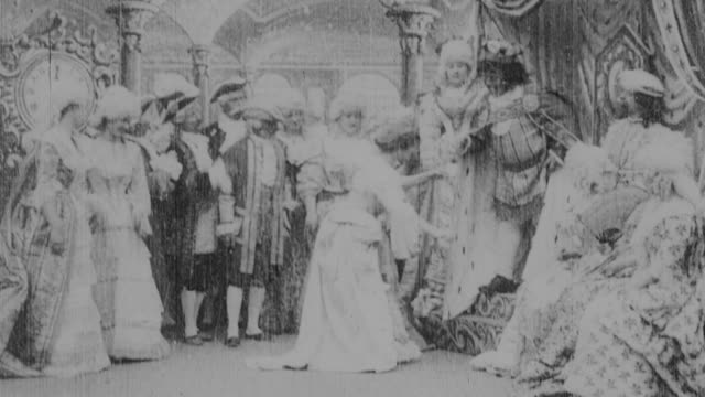 1899 b/w cinderella turning back into maid while dancing with prince at ball, leaving her slipper behind - 1899 stock videos & royalty-free footage
