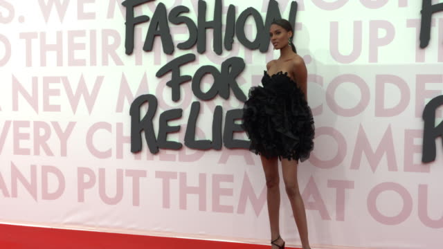 cindy bruna at fashion for relief fashion catwalk - the 71st cannes fillm festival at aeroport cannes mandelieu on may 13, 2018 in cannes, france. - カンヌ・マンデリュー空港点の映像素材/bロール