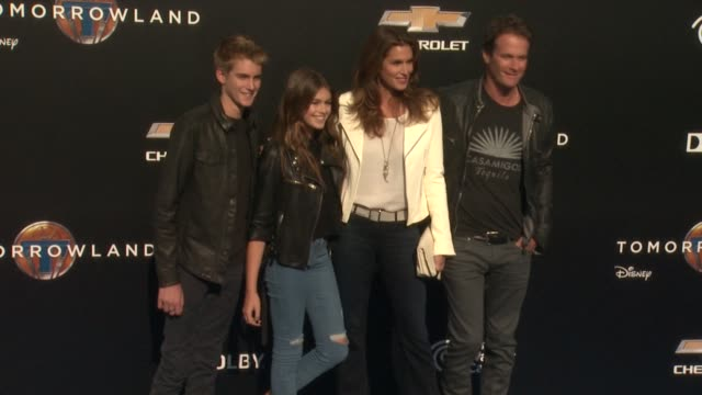 Cindy Crawford and family at the Tomorrowland Los Angeles Premiere at AMC Downtown Disney 12 Theater on May 09 2015 in Anaheim California