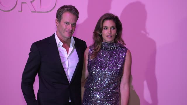 cindy crawford and randi gerber at tom ford - new york fashion week - spring 2018 at park avenue armory on september 06, 2017 in new york city. - cindy crawford stock videos & royalty-free footage