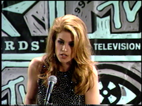 cindy crawford at the 1991 mtv awards at universal amphitheatre in universal city, california on january 1, 1991. - cindy crawford stock videos & royalty-free footage
