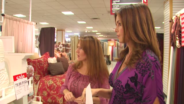 cindy crawford at the cindy crawford, style my room contest - grand prize winner's shopping trip at northridge ca. - northridge stock videos & royalty-free footage