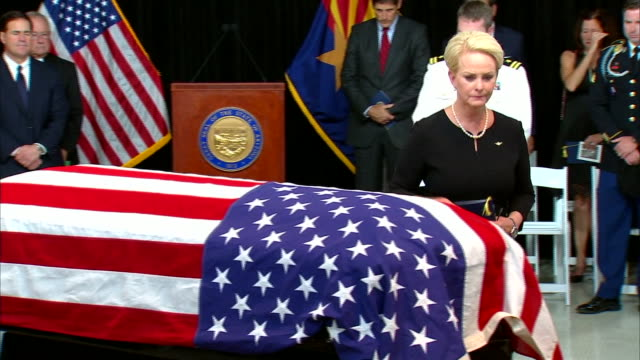 cindy mccain approaches john mccainõs casket and pays her respects at the arizona capitol in phoenix, arizona on august 29, 2018. - john mccain stock videos & royalty-free footage