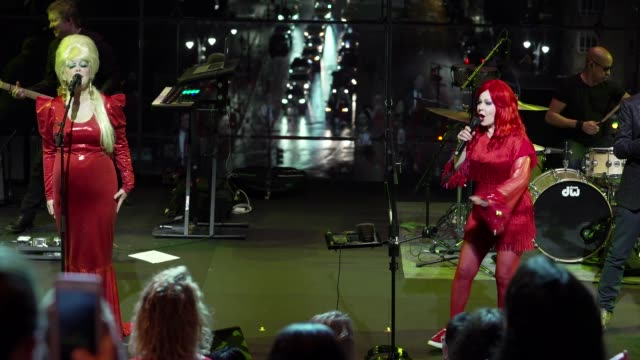 performance cindy wilson fred schneider and kate pierson of the b 52's perform onstage at columbus circle on february 04 2020 in new york city - performance stock videos & royalty-free footage