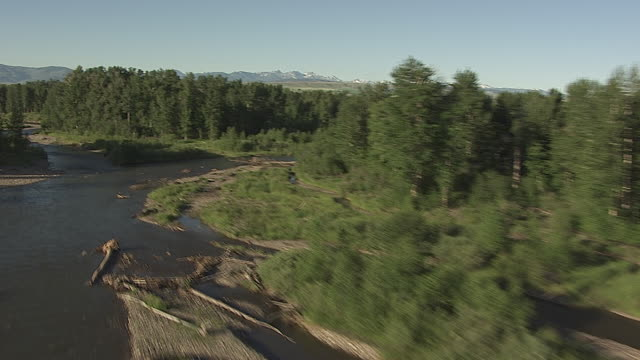 cineflex over winding river through trees_1 - low stock videos and b-roll footage