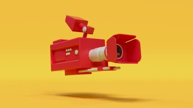 cinema camera red yellow cartoon style minimal 3d rendering cinema theater concept - still life stock videos & royalty-free footage