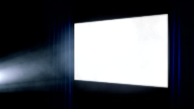 cinema screen with projector light angled blue curtains - spotlight stock videos & royalty-free footage