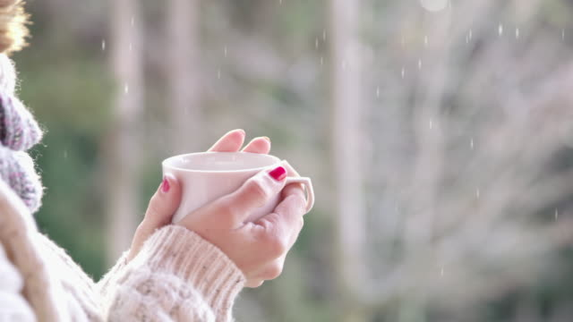 vídeos de stock e filmes b-roll de 4k cinemagraph close up woman drinking hot chocolate and watching snow falling - mug