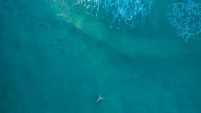 cinemagraph man swimming in the ocean - cinemagrafia video stock e b–roll