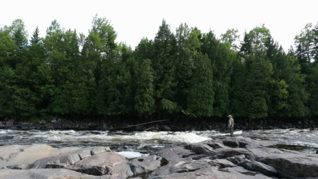 Cinemagraph of Fisherman Fly Fishing in River